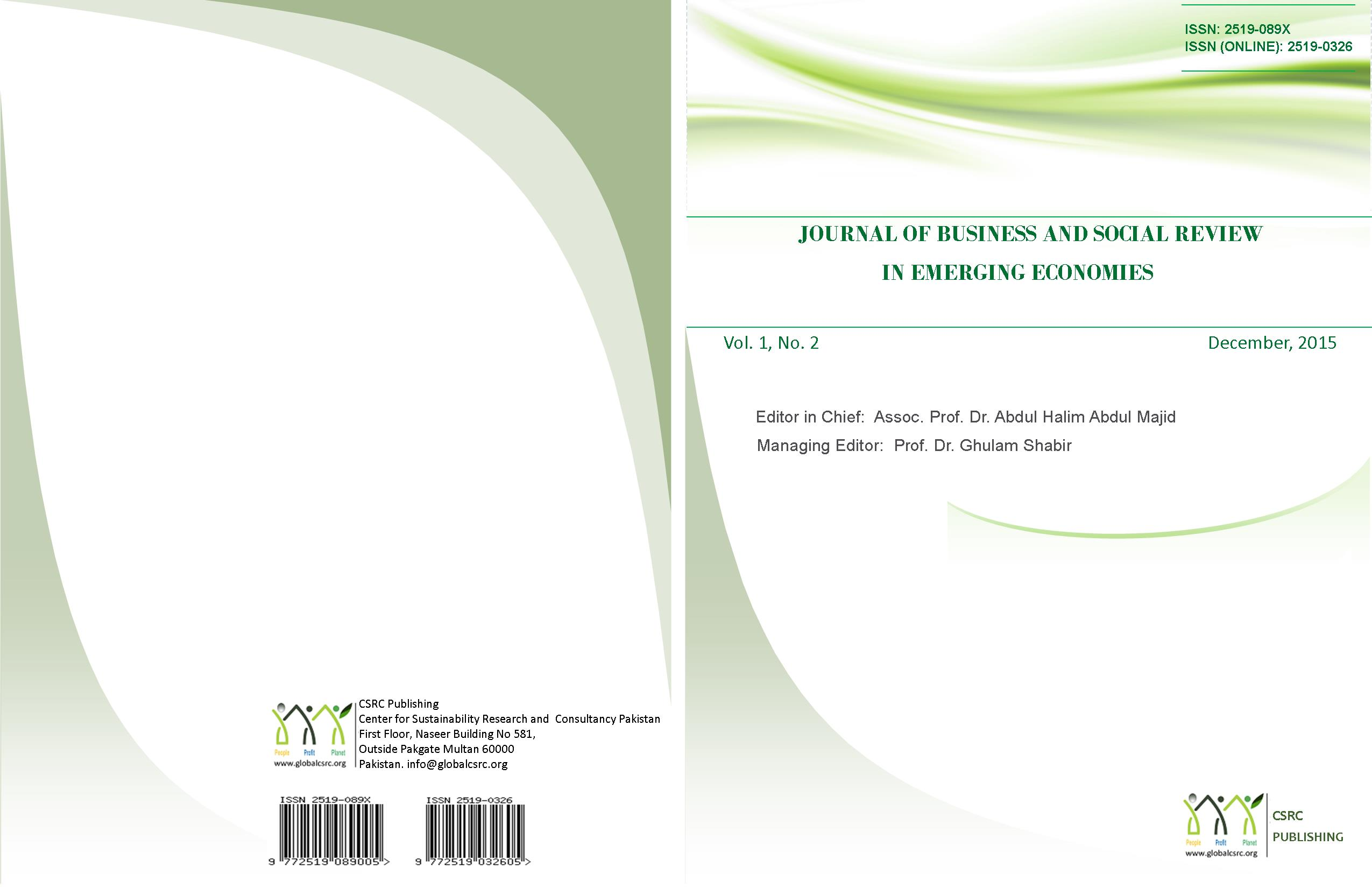 Journal of Business and Social Review in Emerging Economies, Vol 1, No. 2, December 2015